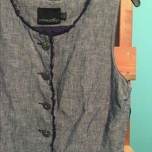 Jean dress silver buttons
